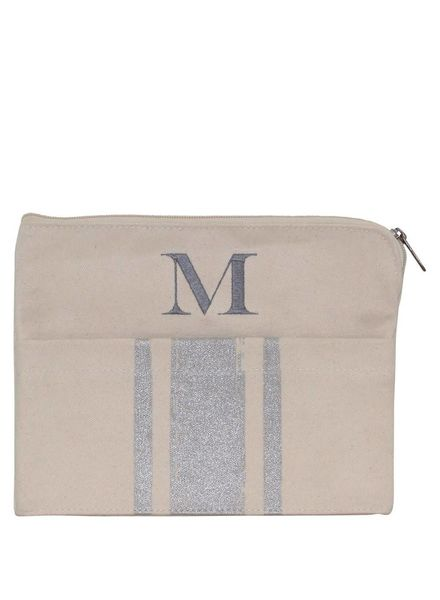 CB Station Metallic Silver Canvas Clutch