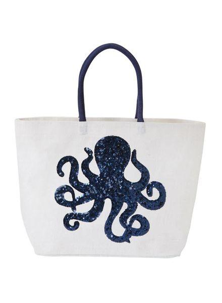 Mudpie White Octopus Sequin Jute Tote Bag