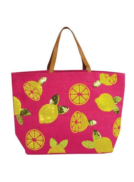 Mudpie Pink Jute Sequin Lemon Tote Bag