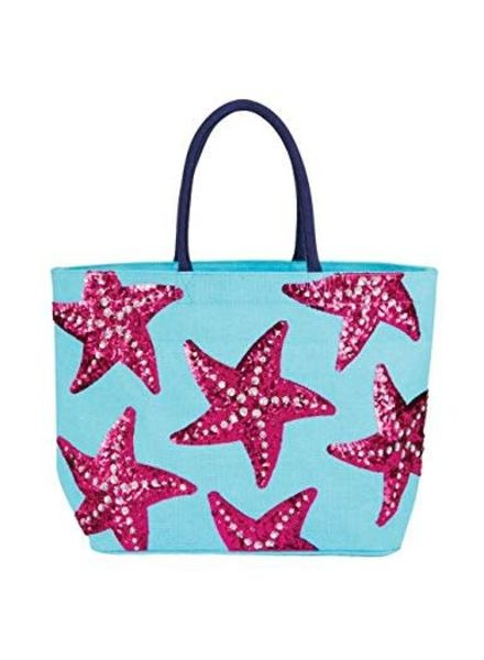 Mudpie Blue Jute Sequin Starfish Tote Bag