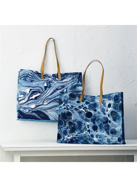 Two's Company Blue Atlantis Jute Tote