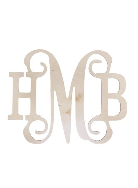 large wood 3 letter monogram