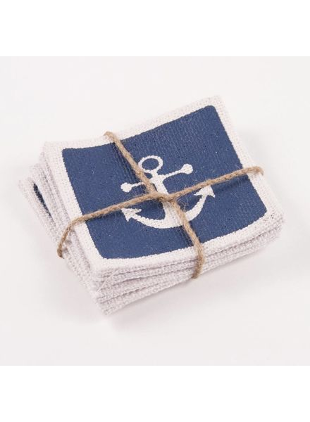 ROYAL STANDARD Anchor Burlap Coasters