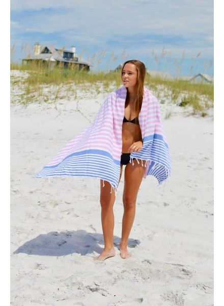 The Green Owl Pink & Blue Turkish Towel