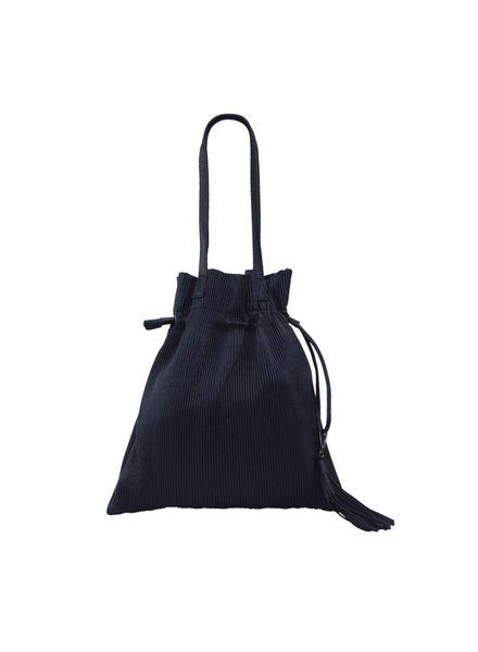 Navy Pleated Bucket Bag