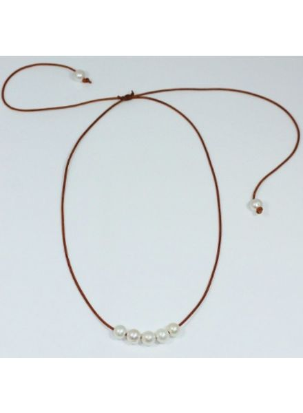 Sea Lustre Five Pearl Slide Necklace