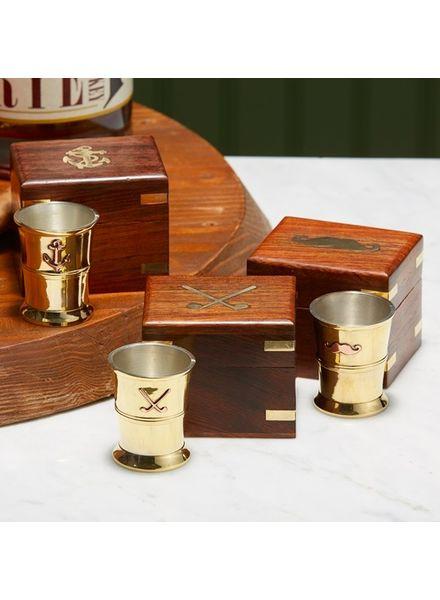 Two's Company Brass Shot Glass in Keepsake Box