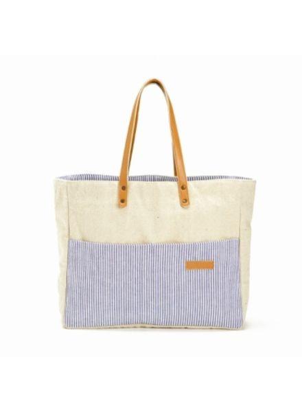 Two's Company Seersucker Tote Bag