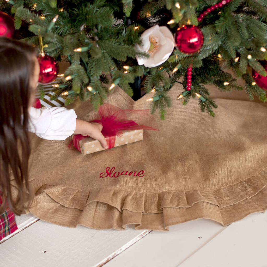 wholesale boutique burlap ruffle tree skirt wholesale boutique burlap ruffle tree skirt - Burlap Christmas Decorations Wholesale