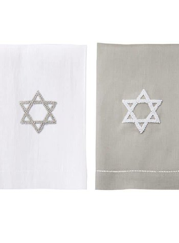 Mudpie Grey Star of David French Knot Towel