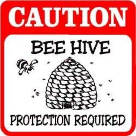Caution: Bee Hive Protection Required Sign