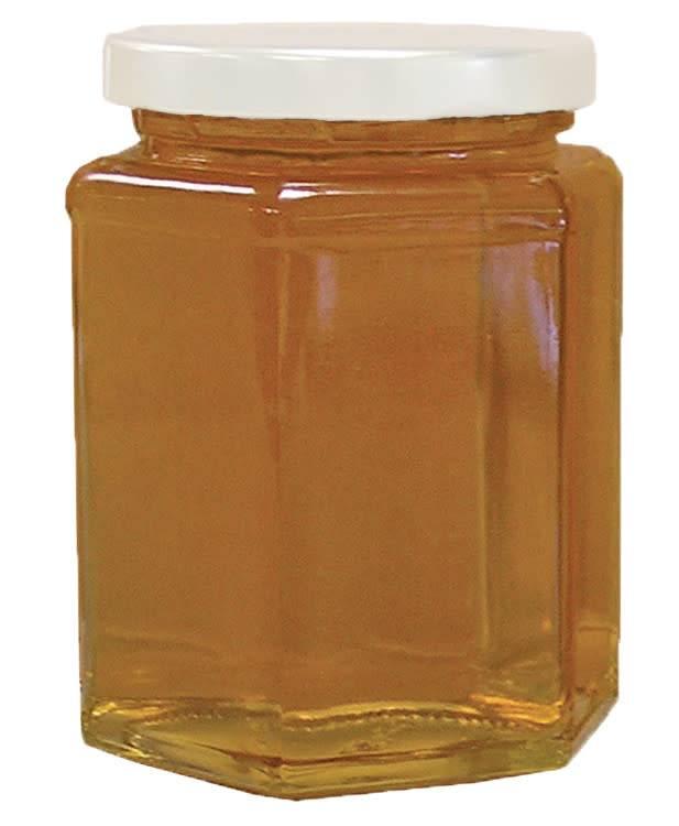 Hex Glass Jar with Lid 12 oz. 12 pk