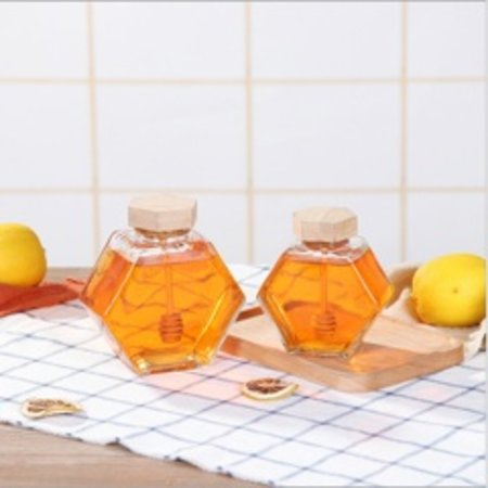Hexagon Jar with wooden lid and dipper - Large