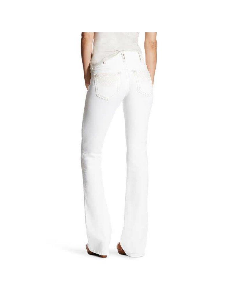 Ariat Ariat R.E.A.L Mid Rise Folk Flower Boot Cut White Jean