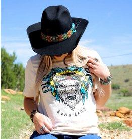 The Coyote Cowgirl BOSS LADY BUFFALO HEADDRESS TEE