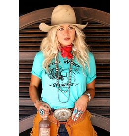 The Coyote Cowgirl Wild West Stampede Turquoise Graphic Tee