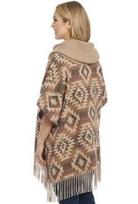 Cripple Creek Navajo Blanket Poncho with Knit Cowl Neck
