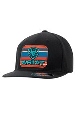 Ariat Ariat Black Striped Patch Flex Fit Flat Bill Cap