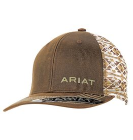 Ariat Ariat Brown Oilskin Aztec Mesh Snap Back Cap