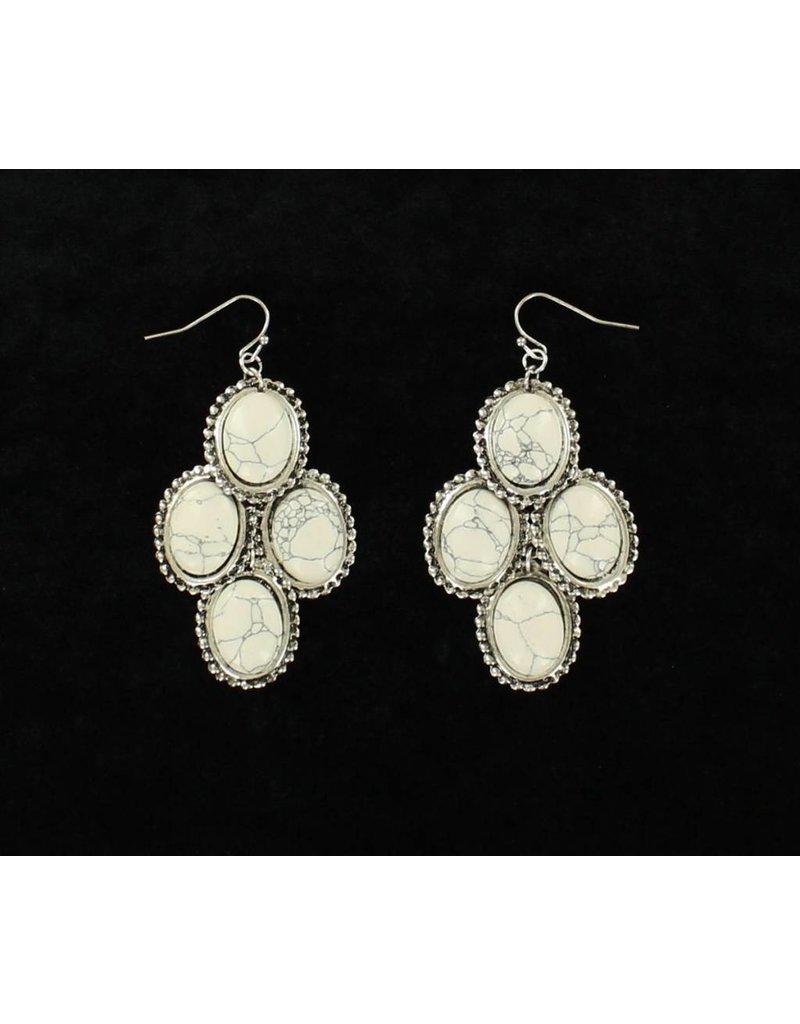 Blazin Roxx White Stone Dangle Earrings