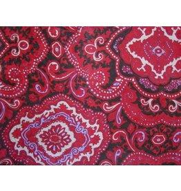 Wyoming Traders Paisley Red-Black 100% Silk Scarf