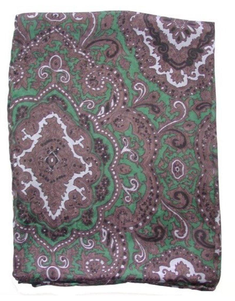 Wyoming Traders Paisley Green-Chocolate 100% Silk Scarf