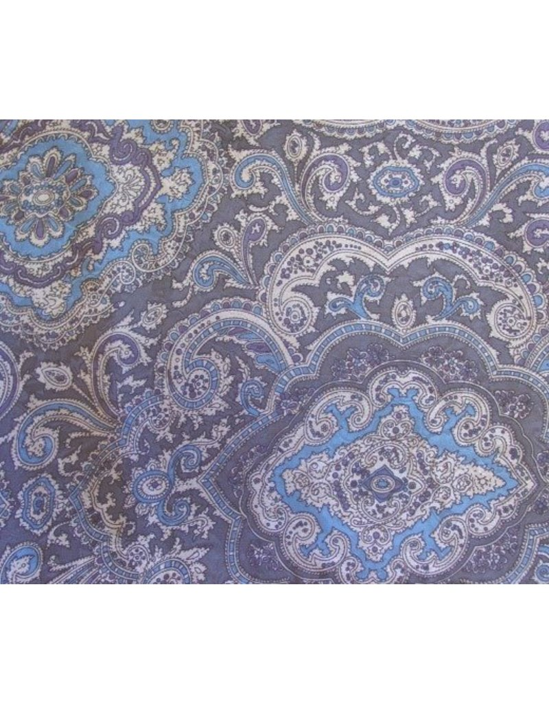 Wyoming Traders Paisley Blue-Silver 100% Silk Scarf