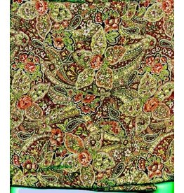 Wyoming Traders Calico Green Paisley 100% Silk Scarf
