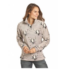 Powder River Outfitters Powder River Grey Quarter Zip Fleece Steerhead Pullover