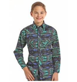 Rock & Roll Cowboy Rock & Roll Cowboy Teal Poplin Aztec Print Shirt