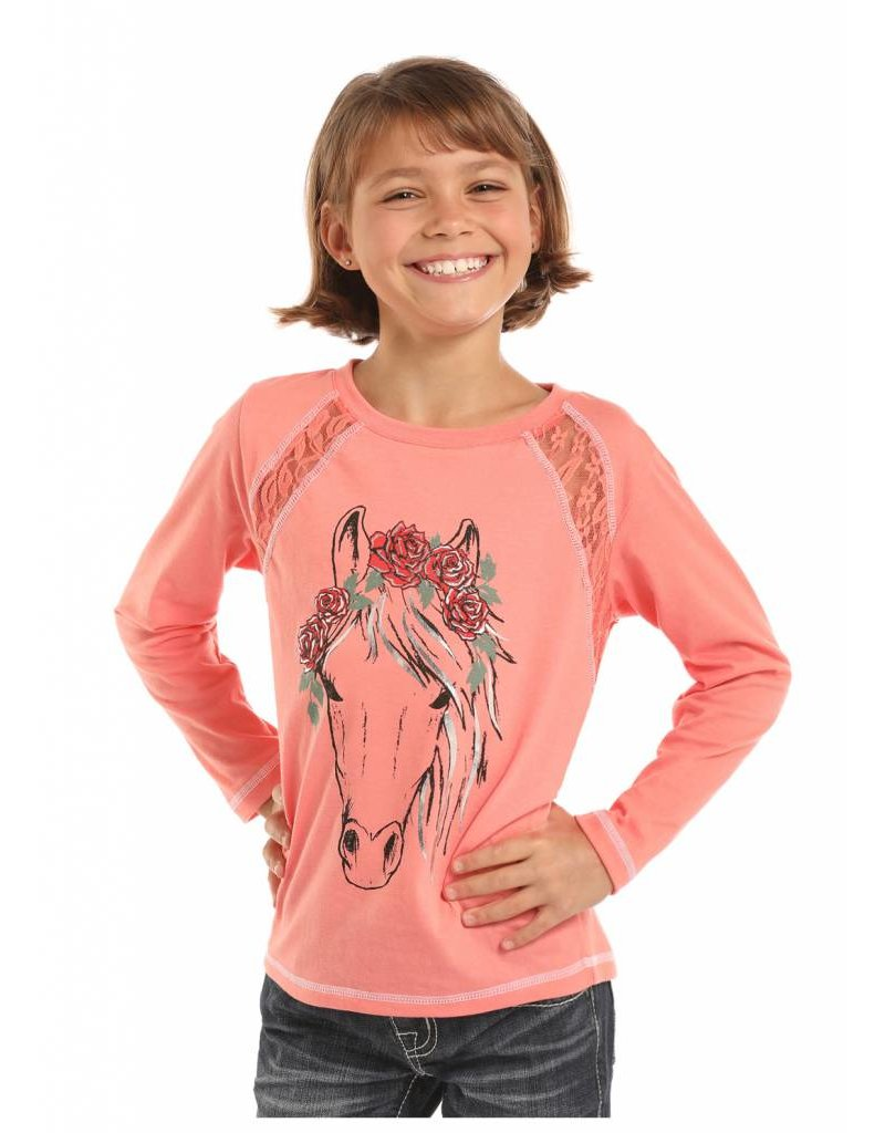 Rock & Roll Cowgirl Rock & Roll Cowgirl Foil Hair & Flowers Horse Graphic Tee