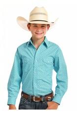 Panhandle Slim Rough Stock Boys' Turquoise Pitkin Vintage Print Shirt