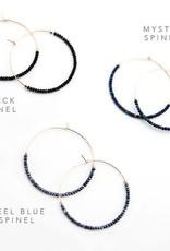 Hoop Earrings - Steel Blue Spinel/Silver