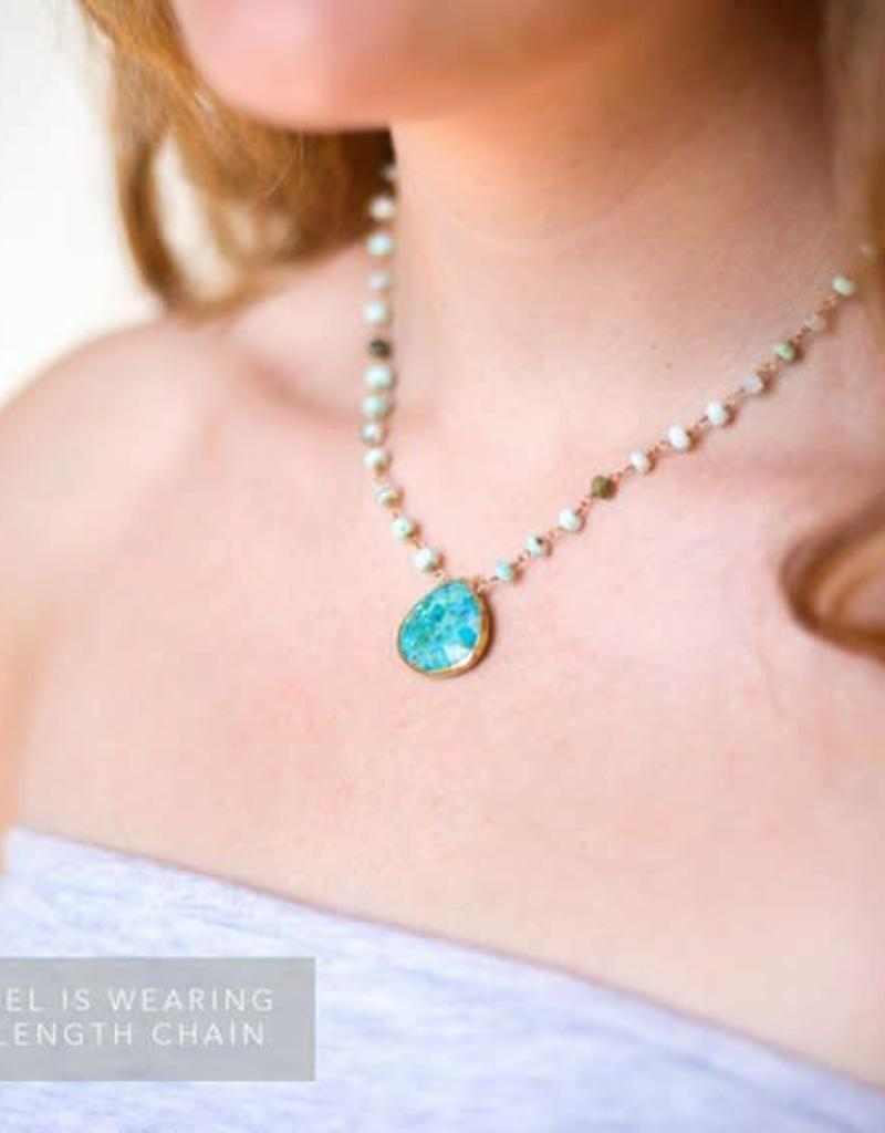 Beaded Pendant Necklace - Turquoise