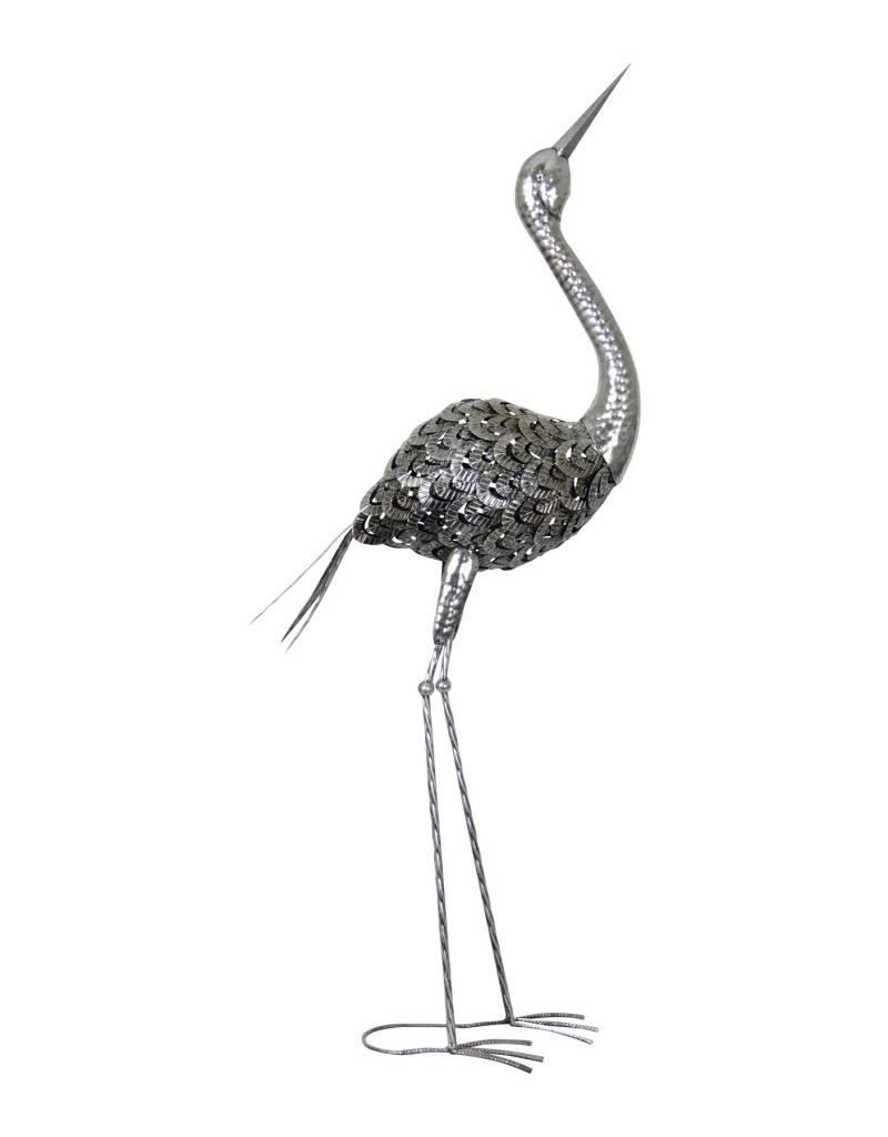 Silver Metal Crane Beak Up