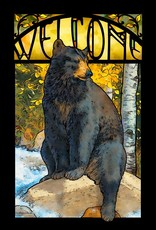 The Paws That Refreshes-Black Bear Stained Glass Art by Lee Kromschroeder