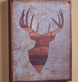 "Whitetail Deer Bust Silhouette 12"" x 16"" Box Art Sign by Jack Hagerman"