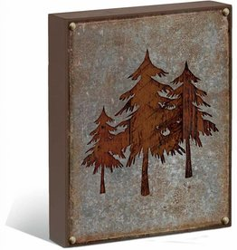 "Pine Tree Silhouette 12"" x 16"" Box Art Sign"