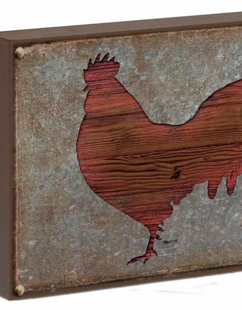 "Rooster Silhouette 12"" x 16"" Box Art Sign by Rosemary Millette"