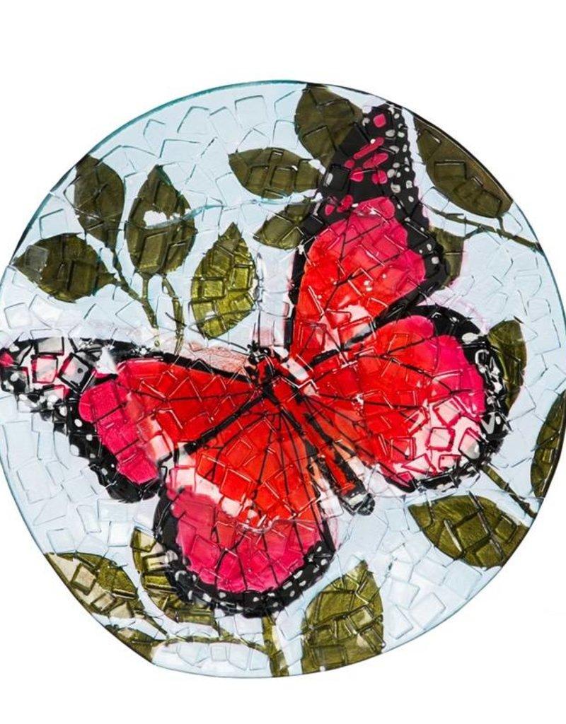 Bird Bath - Fused Glass Butterfly