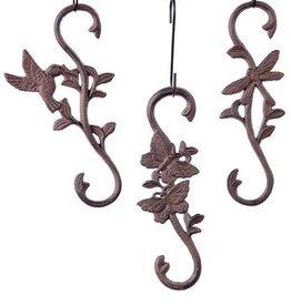 'S' Hook - Cast Iron Bird, Butterfly, & Dragonfly