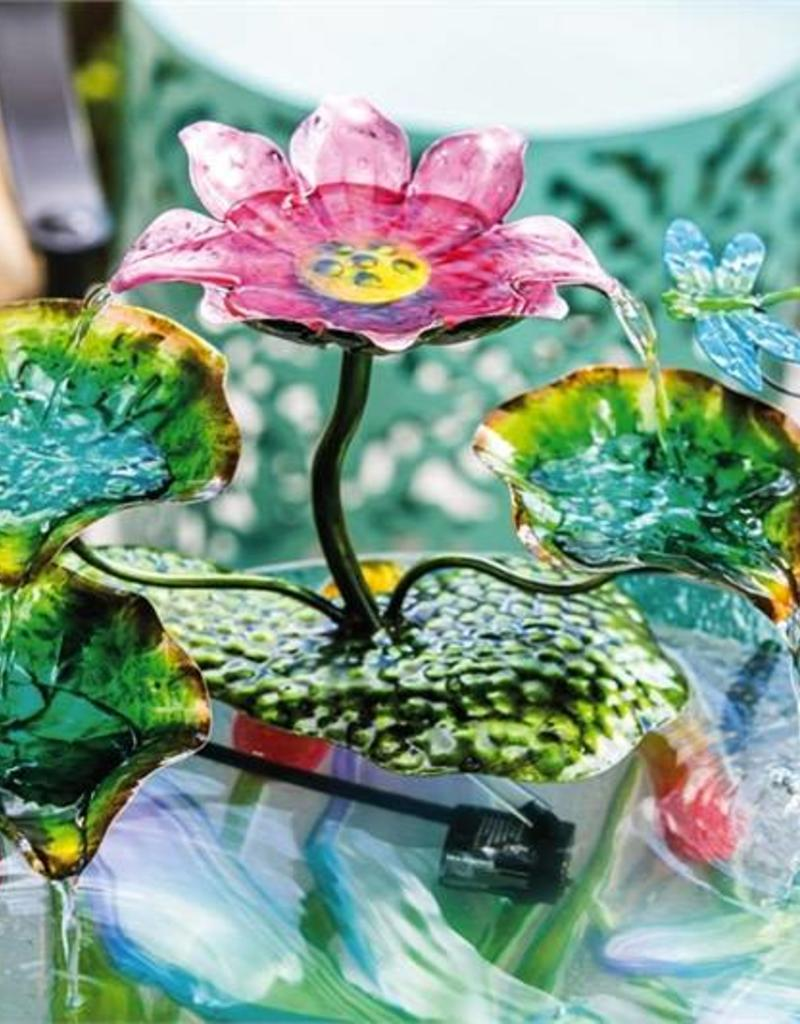 Bird Bath Fountain - Pink Flower and Dragonfly