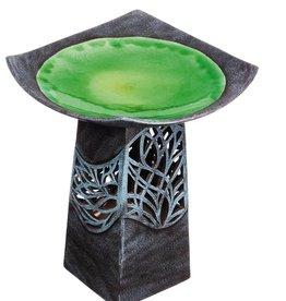 Hand-Glazed Ceramic Bird Bath