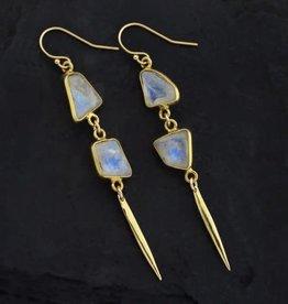 Drop Earrings - Rainbow Moonstone/Gold