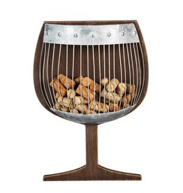 Wood and Metal Wall Cork Holder - Wine Glass