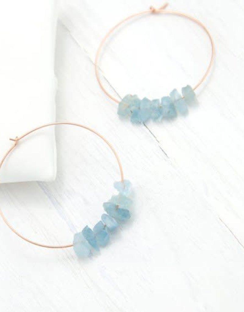 Hoop Earrings - Aquamarine/Silver/Sm