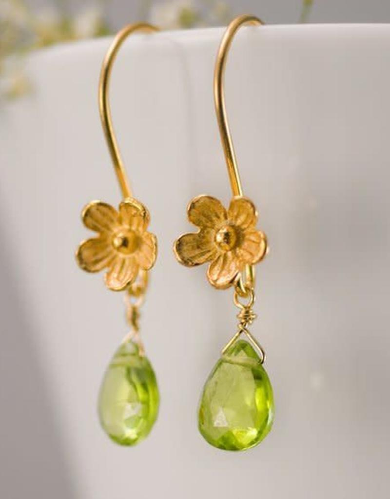 Dangle Earrings Peridot Gold