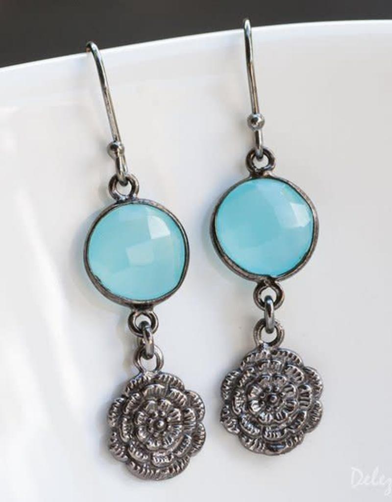 Drop Earrings - Aqua Blue Chalcedony/Oxidized Silver
