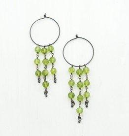 Dangle Earrings - Peridot/Oxidized Silver
