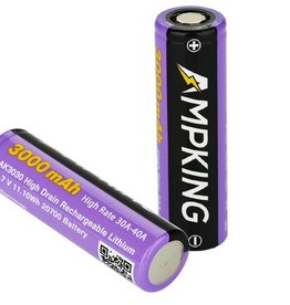 Ampking 20700 Battery   3000mAh 30A   Flat Top